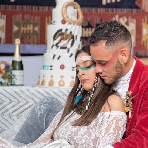 couple, pièce montée originale, indiens; amérindiens - love and do mariage