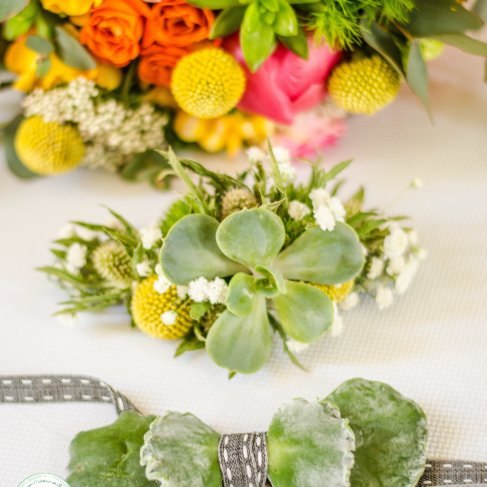 fleurs mariage succulentes, colorées noeud papillon original - love and do mariage