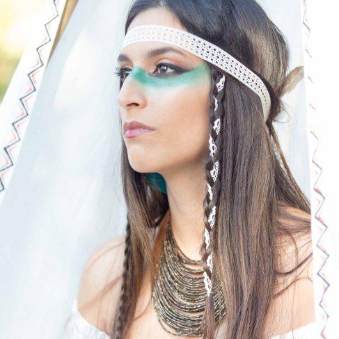 mariée indienne, tresse, mariage à thème, apache , portrait - love and do mariage