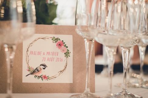 menu champêtre chic romantique logo oiseau couronne aquarelle kraft naturel -love and do mariage