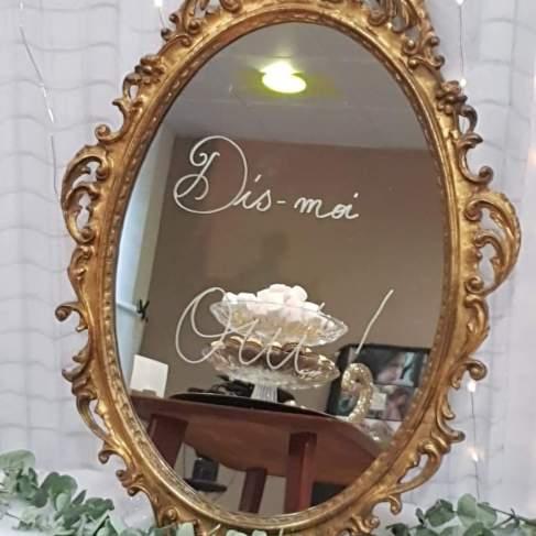 oui- mon beau miroir- blanche neige, dis moi oui, messages d'amour , miroir ancien, mariage vintage -love and do mariage