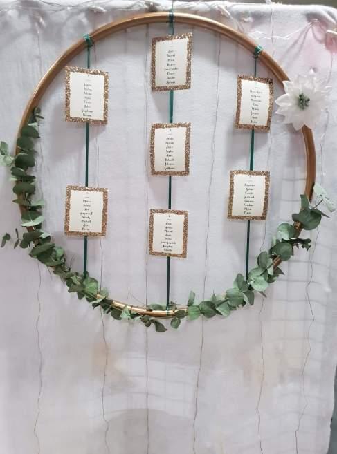 plan de table, eucalyptus, or, cerceau, anneau, arche - love and do mariage